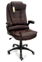 Fotel biurowy MANAGER z masażem - brązowy