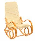 Fotel bujany, bujak jasne drewno - beżowa skóra