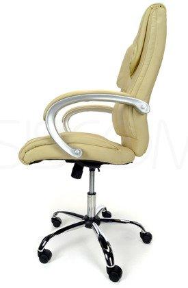 Skórzany fotel biurowy beżowy Steel z masażem