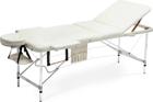 Stół, łóżko do masażu 3 segmentowe aluminiowe beżowe XXL