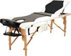 Stół, łóżko do masażu 3 segmentowe drewniane czarno - białe