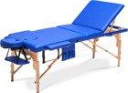 Stół, łóżko do masażu 3 segmentowe drewniane niebieskie XXL