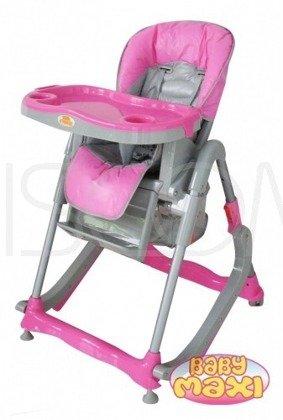 Krzesełko do karmienia 207 z płozami do bujania - różowe