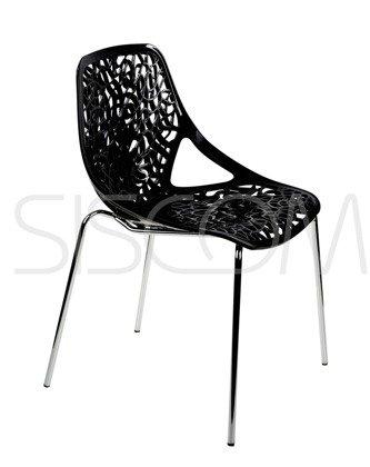 Krzesło ażurowe Gerardo czarne