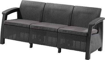 Sofa 3-osobowa CORFU II MAX LOVE grafitowy