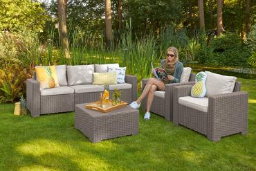 Zestaw mebli ogrodowych CALIFORNIA z sofą 3-osobową cappuccino